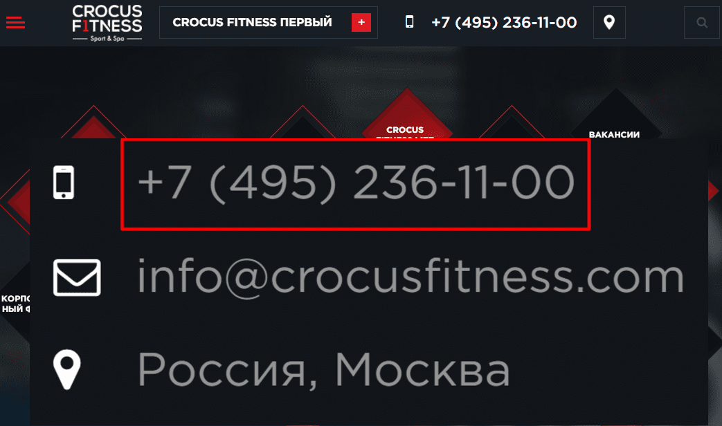 "Сайт фитнес клуба ""Крокус"""