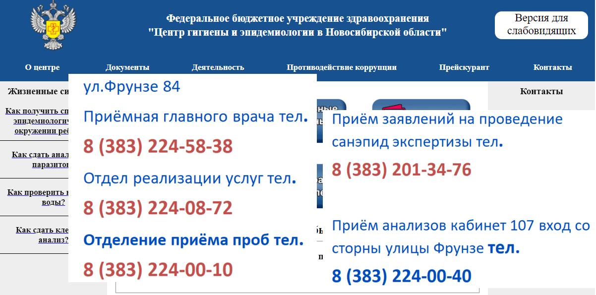 Сайт ЦГИЭ в Новосибирске