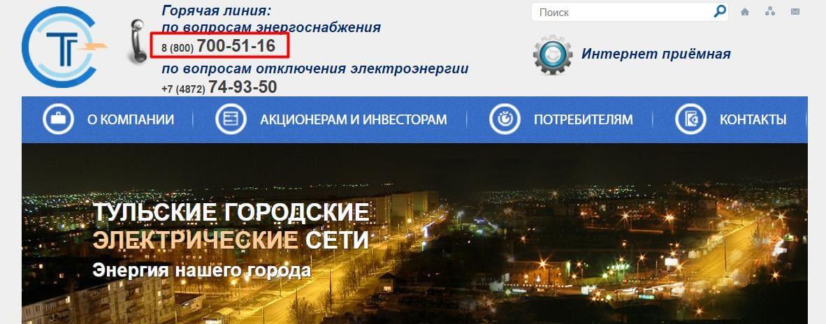 Сайт Тульского «ТГЭС»