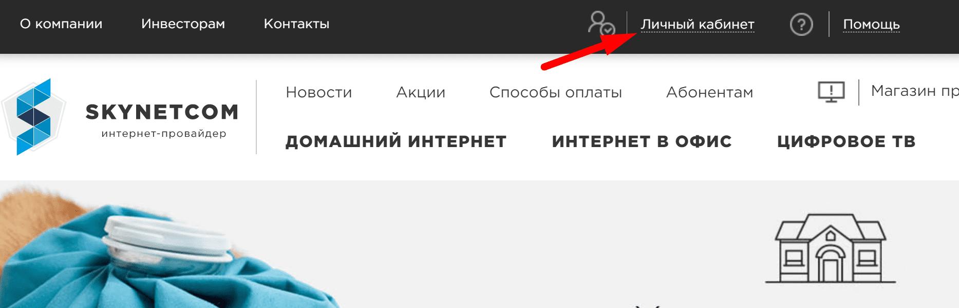 Ссылка на официальный сайт интернет провайдера «Skynetcom»