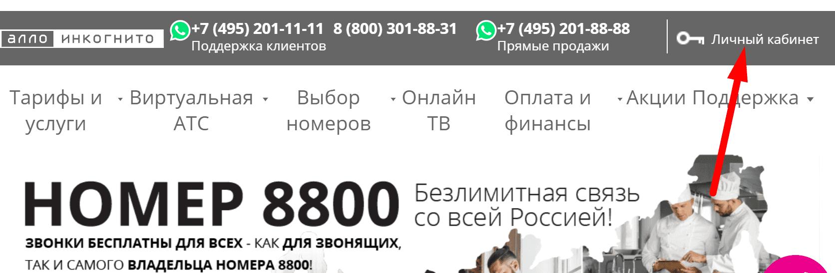 Ссылка на официальный сайт оператора связи «Алло Инкогнито»